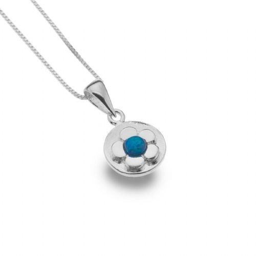 Blue Opal Daisy Pendant Sterling Silver 925 Hallmarked All Chain Lengths